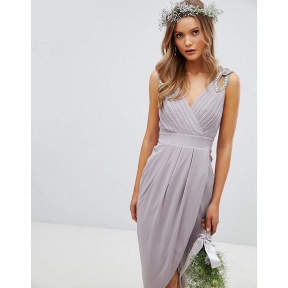 a2c77f0e000 ASOS Dresses   Skirts - TFNC Bridesmaid Prom Wrap Dress Midi Gray 4